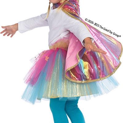 Super Duper Tutu with Cape & Mask Rainbow pastel color - size 4-6