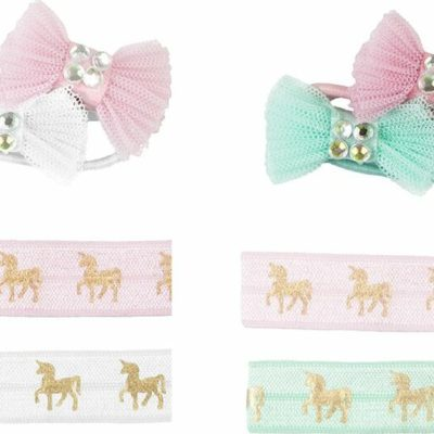 Pink Unicorn Hair Ties Bows, 2 For 1!
