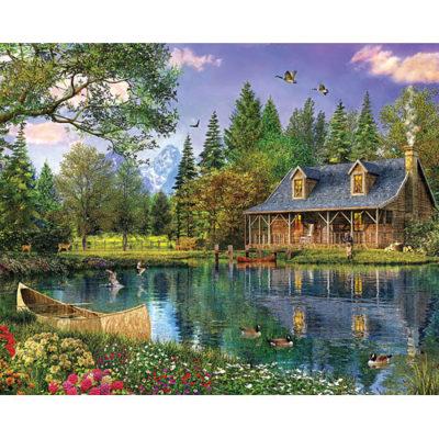 Mountain Cabin Puzzle-1000 Piece Puzzle-White Mountain Puzzles