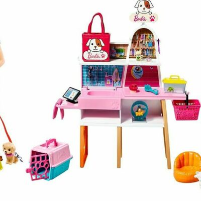 Barbie Doll (11.5-in Blonde) And Pet Boutique Playset